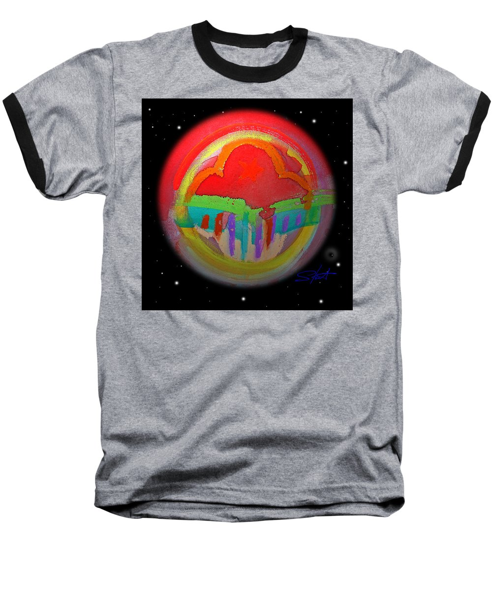 Landscape Baseball T-Shirt featuring the painting Red Planet by Charles Stuart
