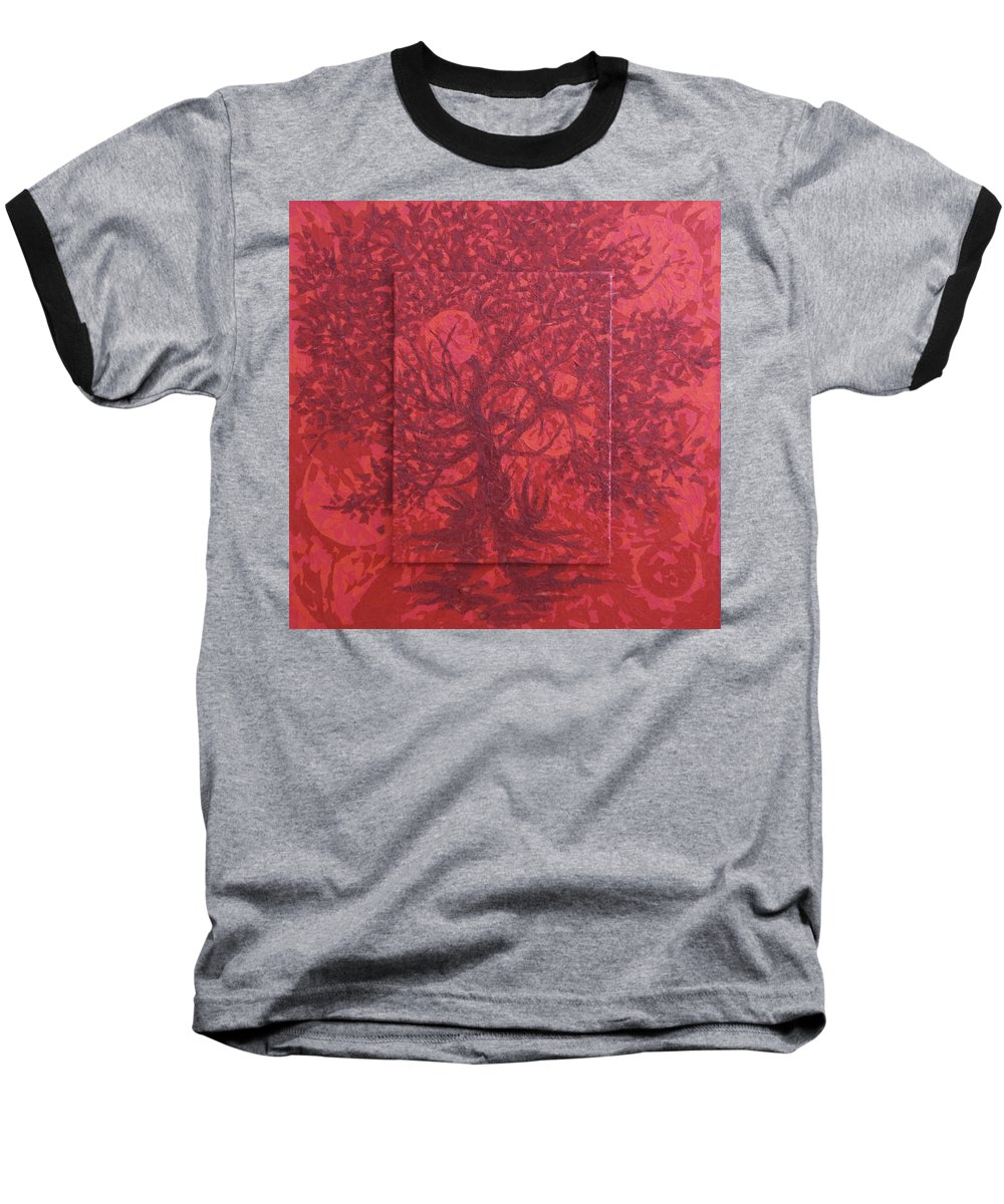 Red Baseball T-Shirt featuring the painting Red Planet by Judy Henninger
