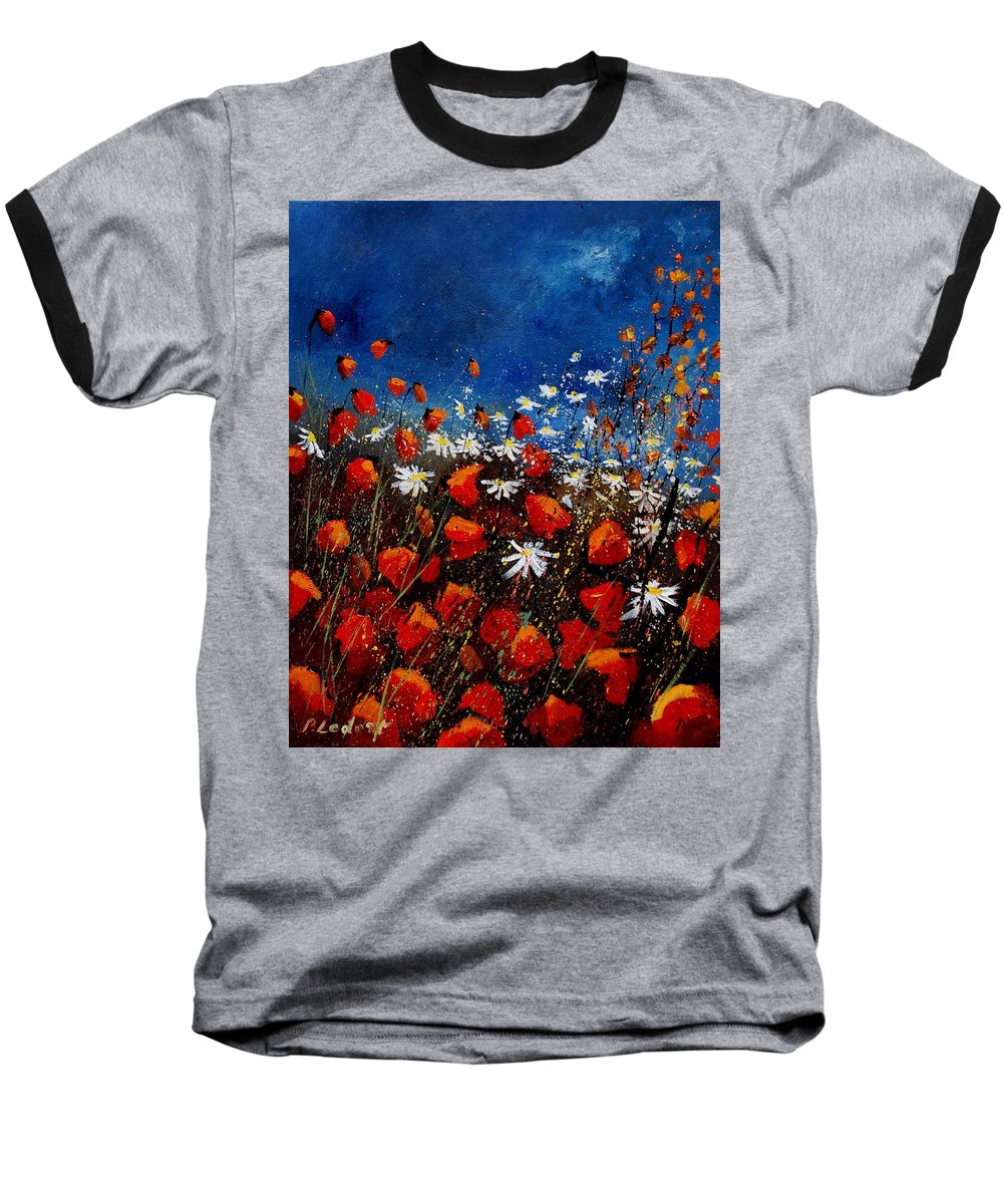 Flowers Baseball T-Shirt featuring the painting Red Poppies 451108 by Pol Ledent