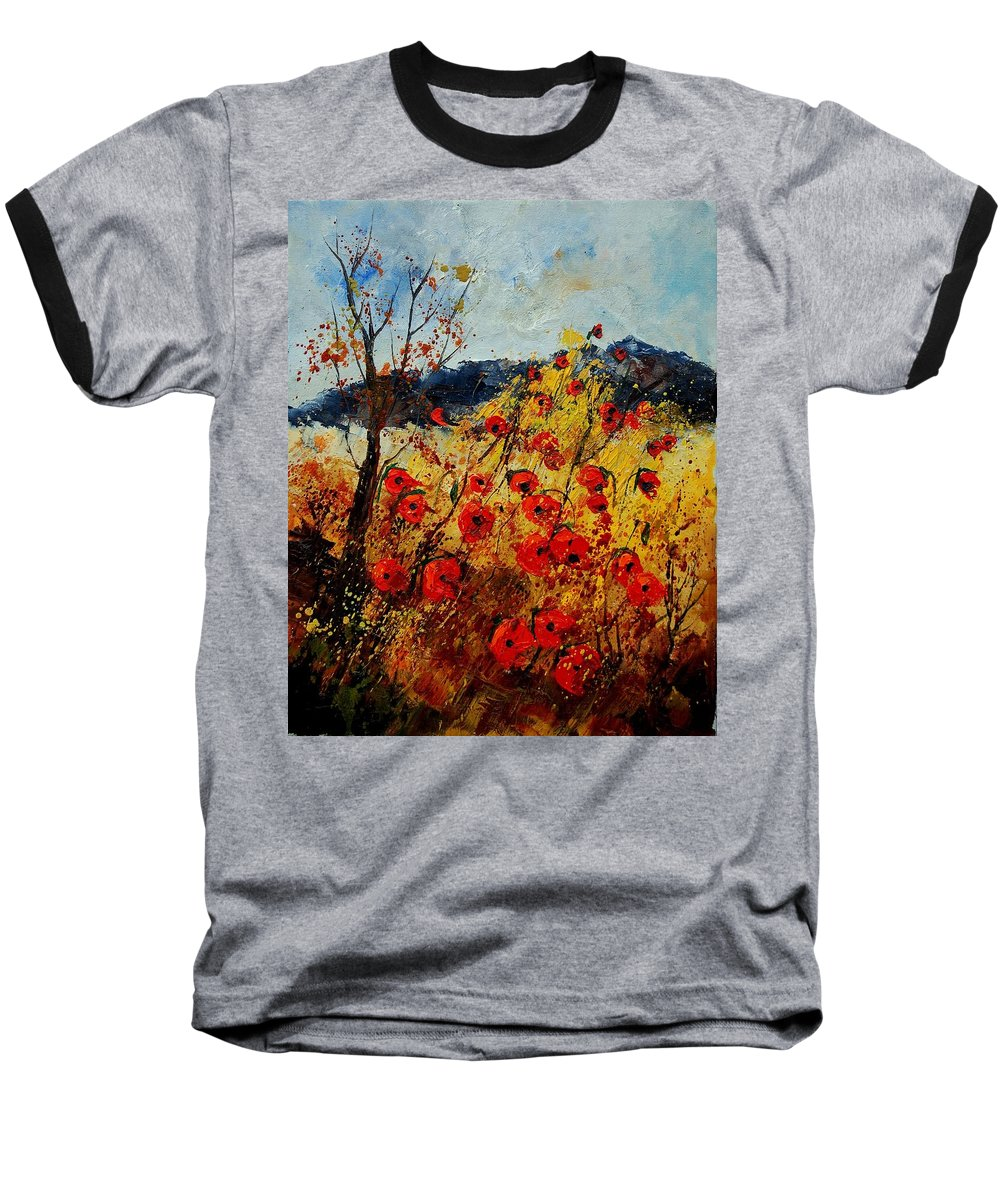 Poppies Baseball T-Shirt featuring the painting Red Poppies In Provence by Pol Ledent