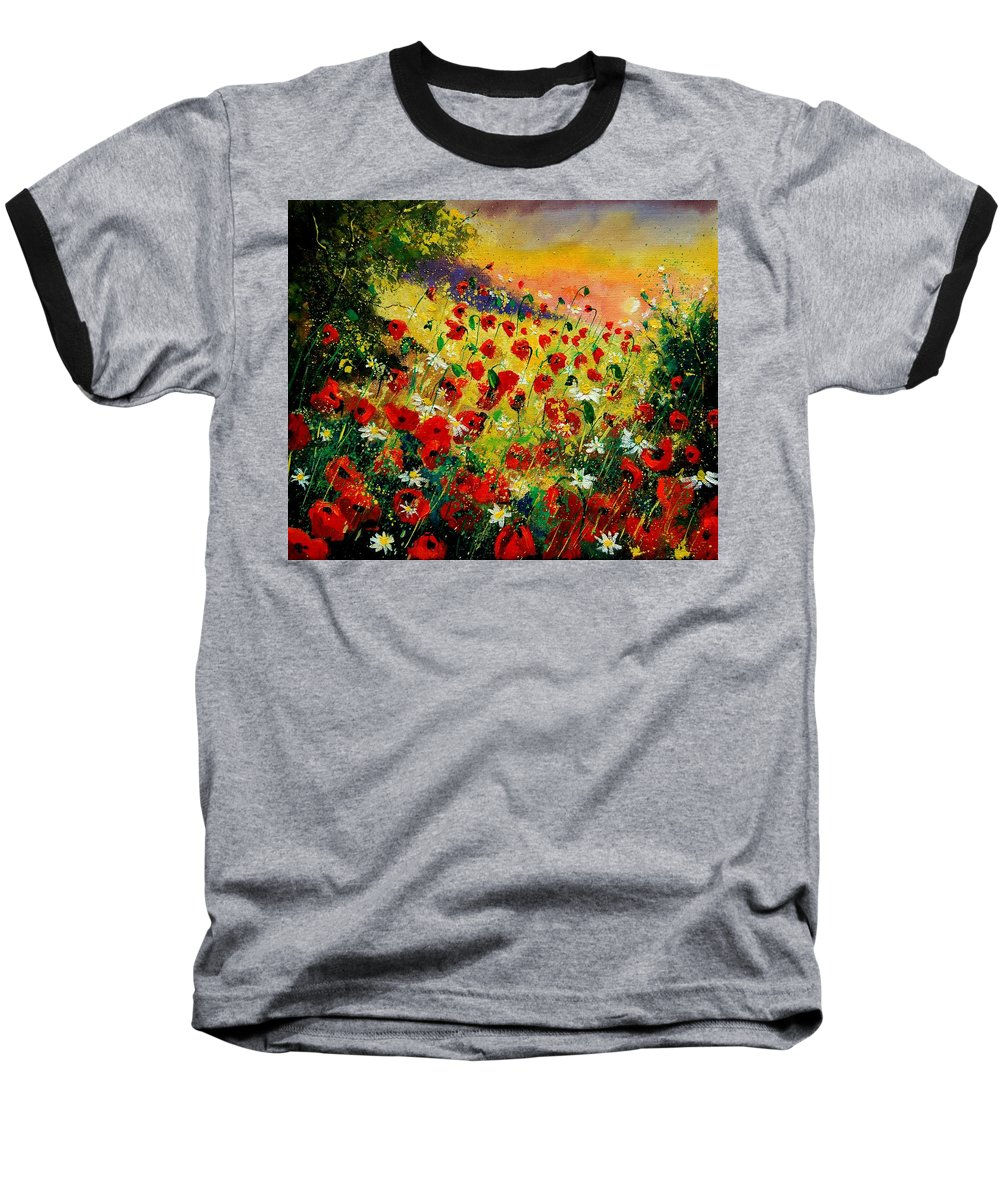 Tree Baseball T-Shirt featuring the painting Red Poppies by Pol Ledent