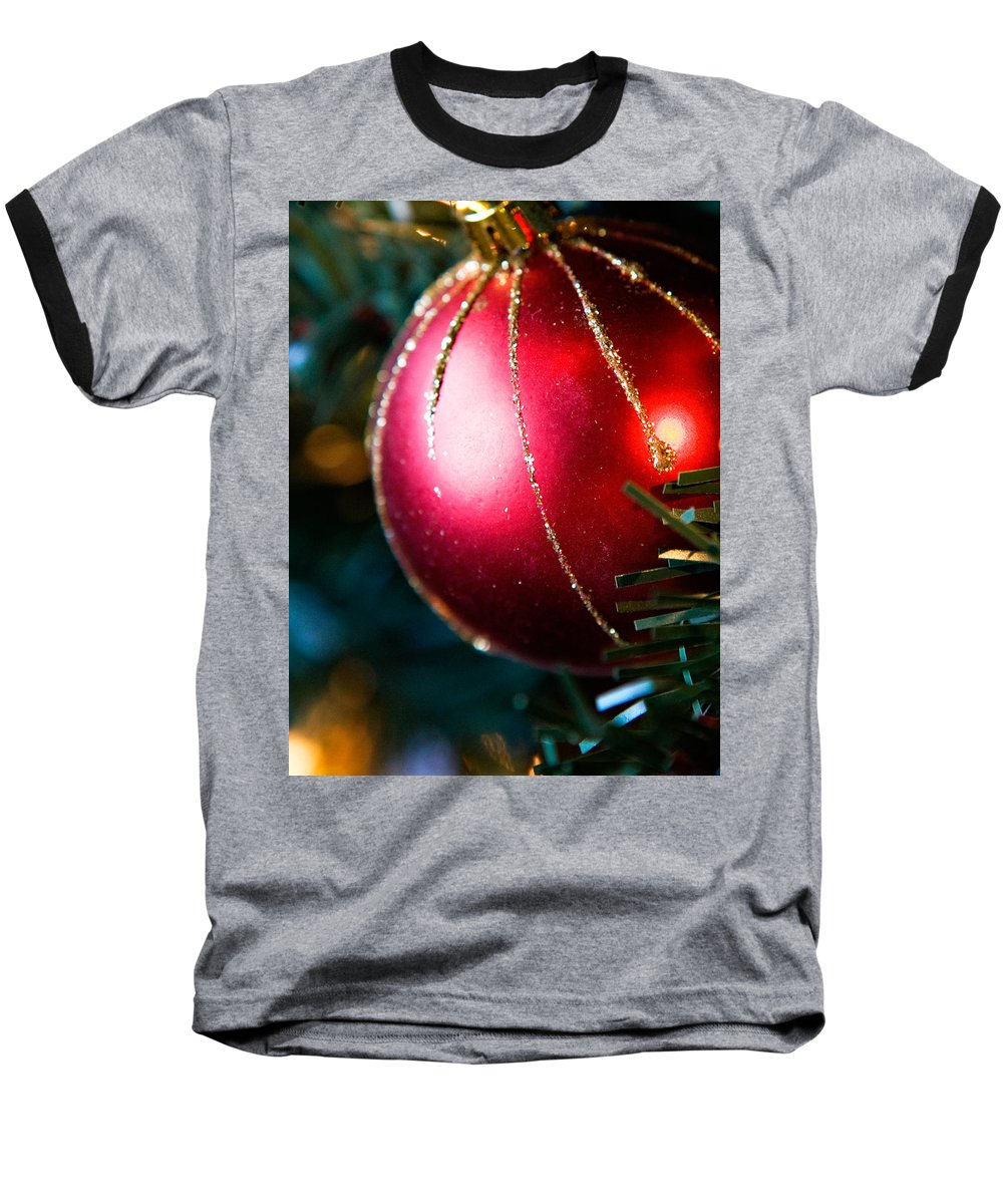 Red Baseball T-Shirt featuring the photograph Red Shiny Ornament by Marilyn Hunt