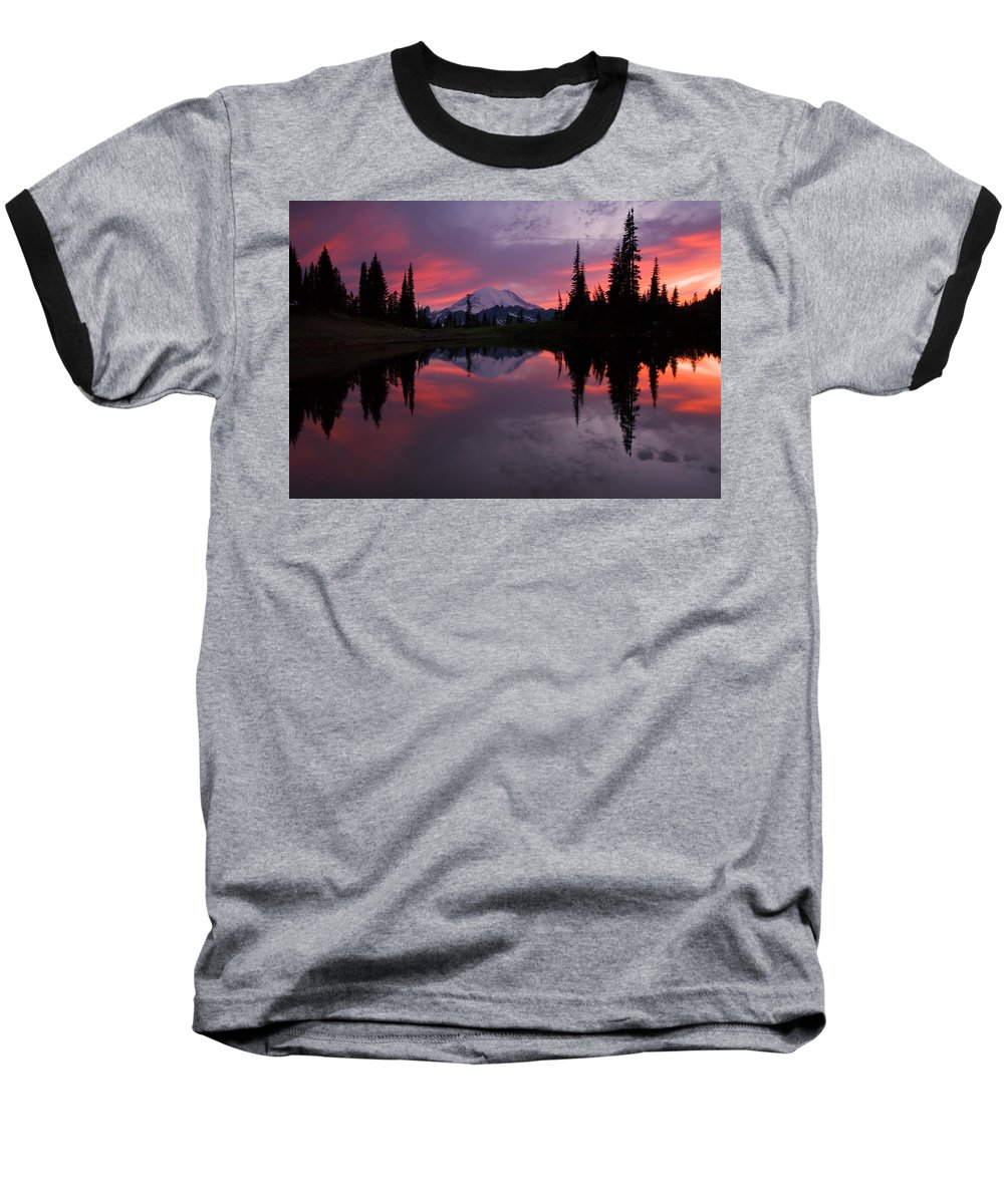 Rainier Baseball T-Shirt featuring the photograph Red Sky At Night by Mike Dawson