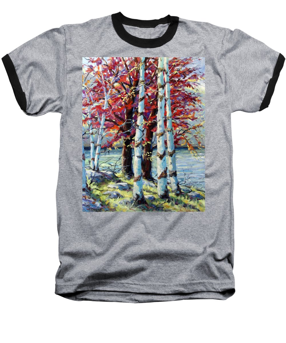 Birches Baseball T-Shirt featuring the painting Red Splash by Richard T Pranke