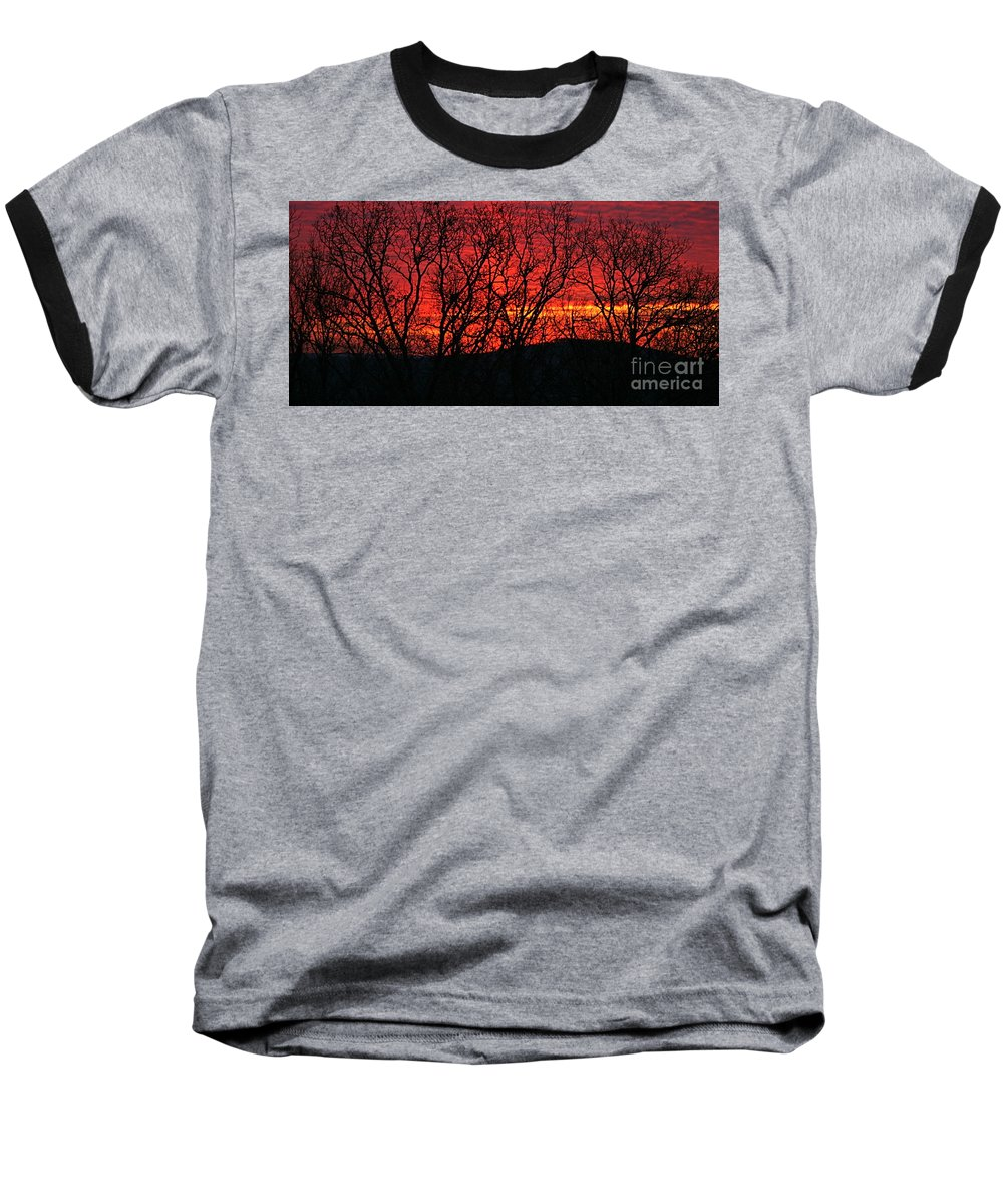 Sunrise Baseball T-Shirt featuring the photograph Red Sunrise Over The Ozarks by Nadine Rippelmeyer