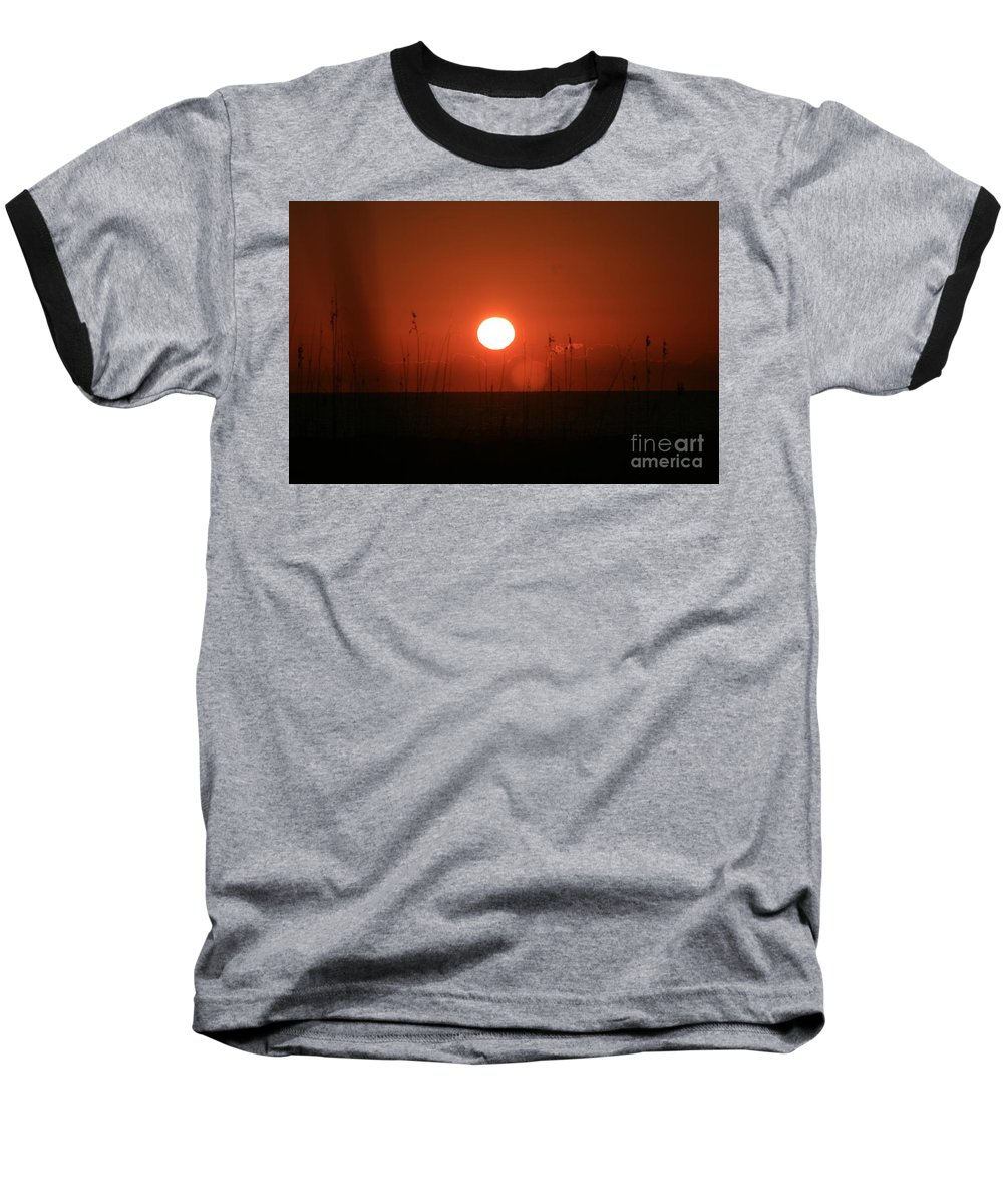 Sunset Baseball T-Shirt featuring the photograph Red Sunset And Grasses by Nadine Rippelmeyer