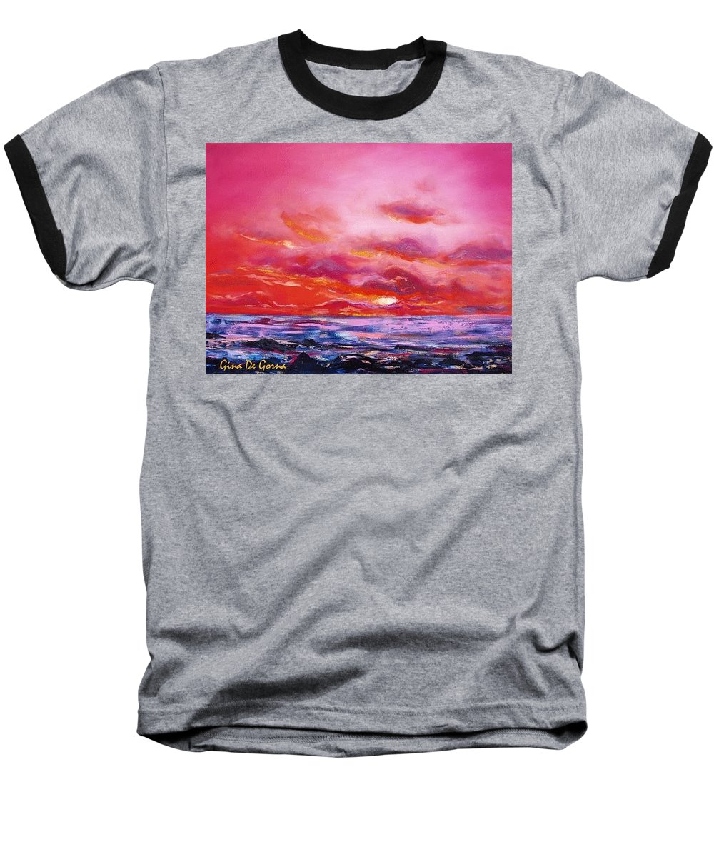 Red Baseball T-Shirt featuring the painting Red Sunset by Gina De Gorna