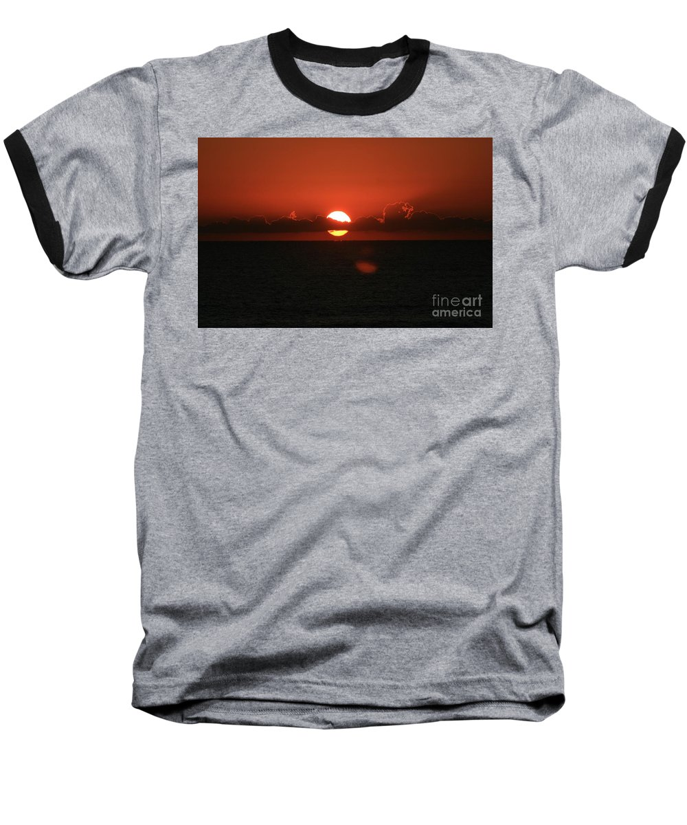 Sunset Baseball T-Shirt featuring the photograph Red Sunset Over The Atlantic by Nadine Rippelmeyer