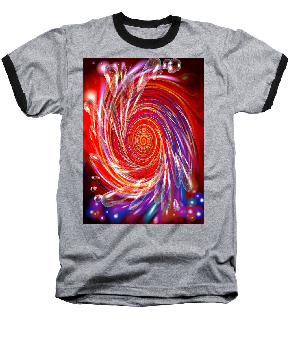 Red Baseball T-Shirt featuring the digital art Red Twirl by Natalie Holland