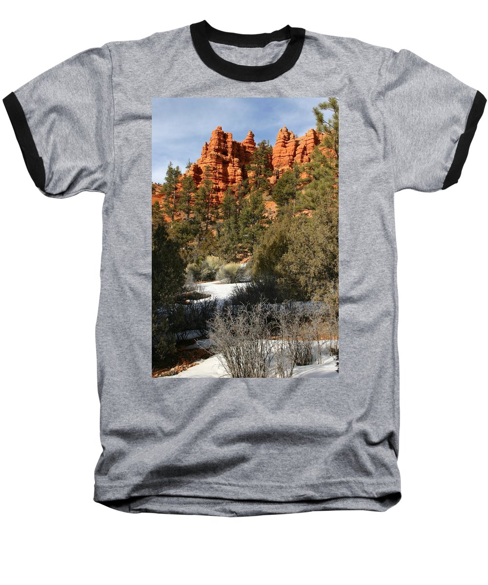 Red Rocks Baseball T-Shirt featuring the photograph Redrock Winter by Nelson Strong