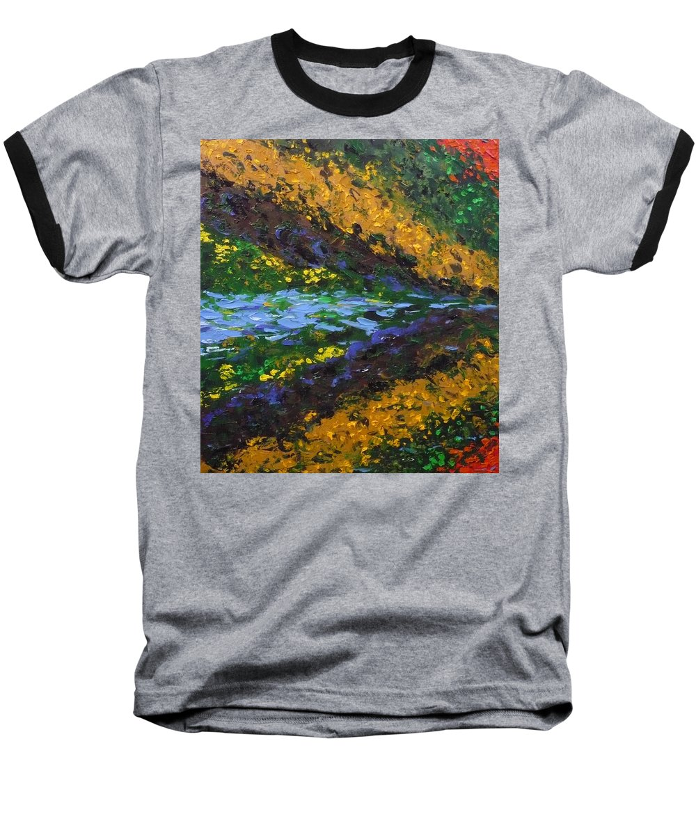 Landscape Baseball T-Shirt featuring the painting Reflection One by Ericka Herazo