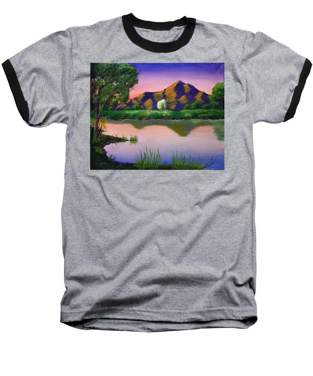 Landscape Baseball T-Shirt featuring the painting Reflections In The Breeze by Dawn Blair