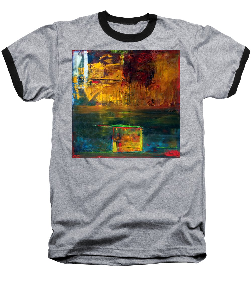New York City Reflection Red Yellow Blue Green Baseball T-Shirt featuring the painting Reflections Of New York by Jack Diamond