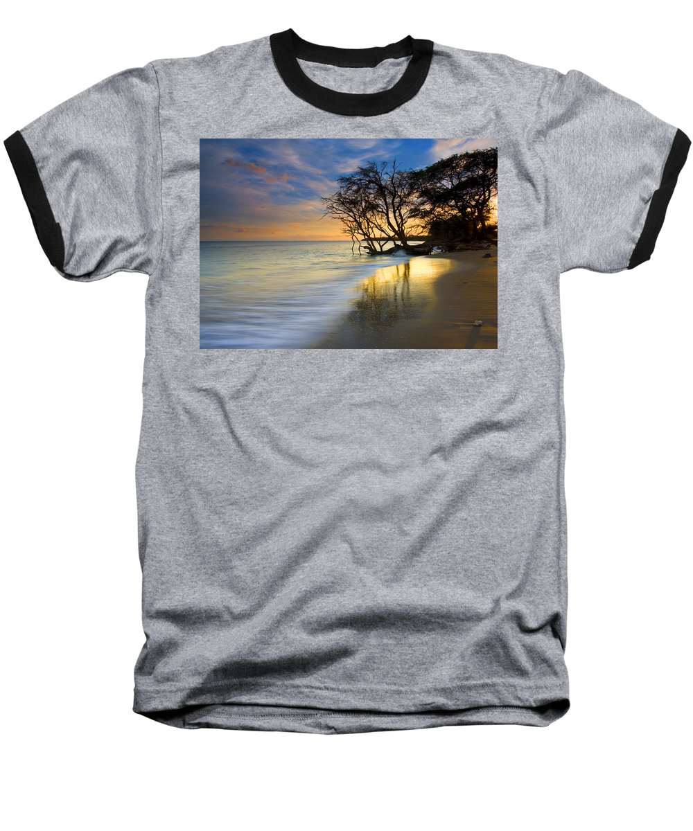 Waves Baseball T-Shirt featuring the photograph Reflections Of Paradise by Mike Dawson