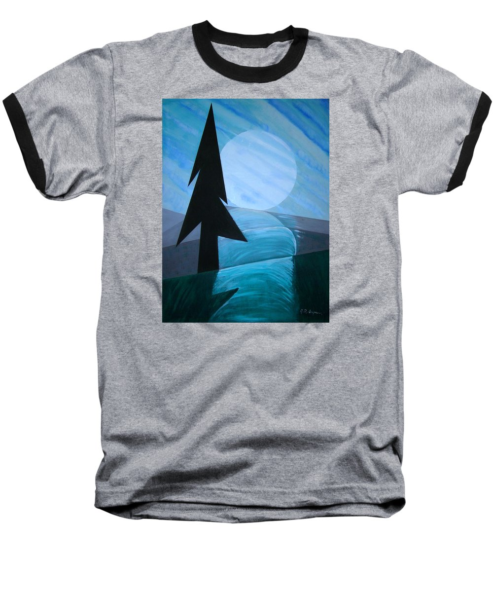 Phases Of The Moon Baseball T-Shirt featuring the painting Reflections On The Day by J R Seymour