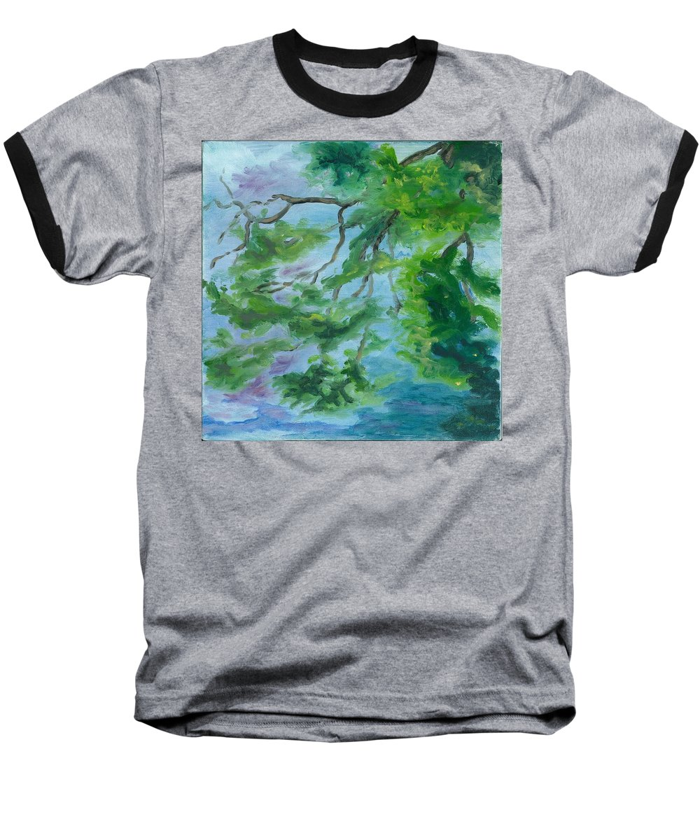 Reflections Baseball T-Shirt featuring the painting Reflections On The Mill Pond by Paula Emery