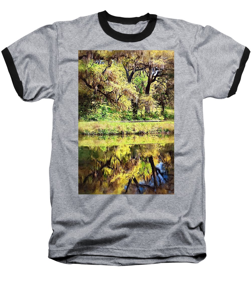 Landscape Baseball T-Shirt featuring the photograph Reflective Live Oaks by Donna Bentley