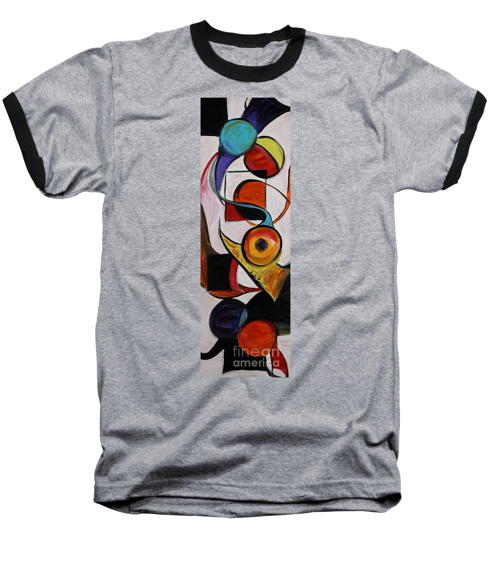Shapes Baseball T-Shirt featuring the painting Relationships by Nadine Rippelmeyer