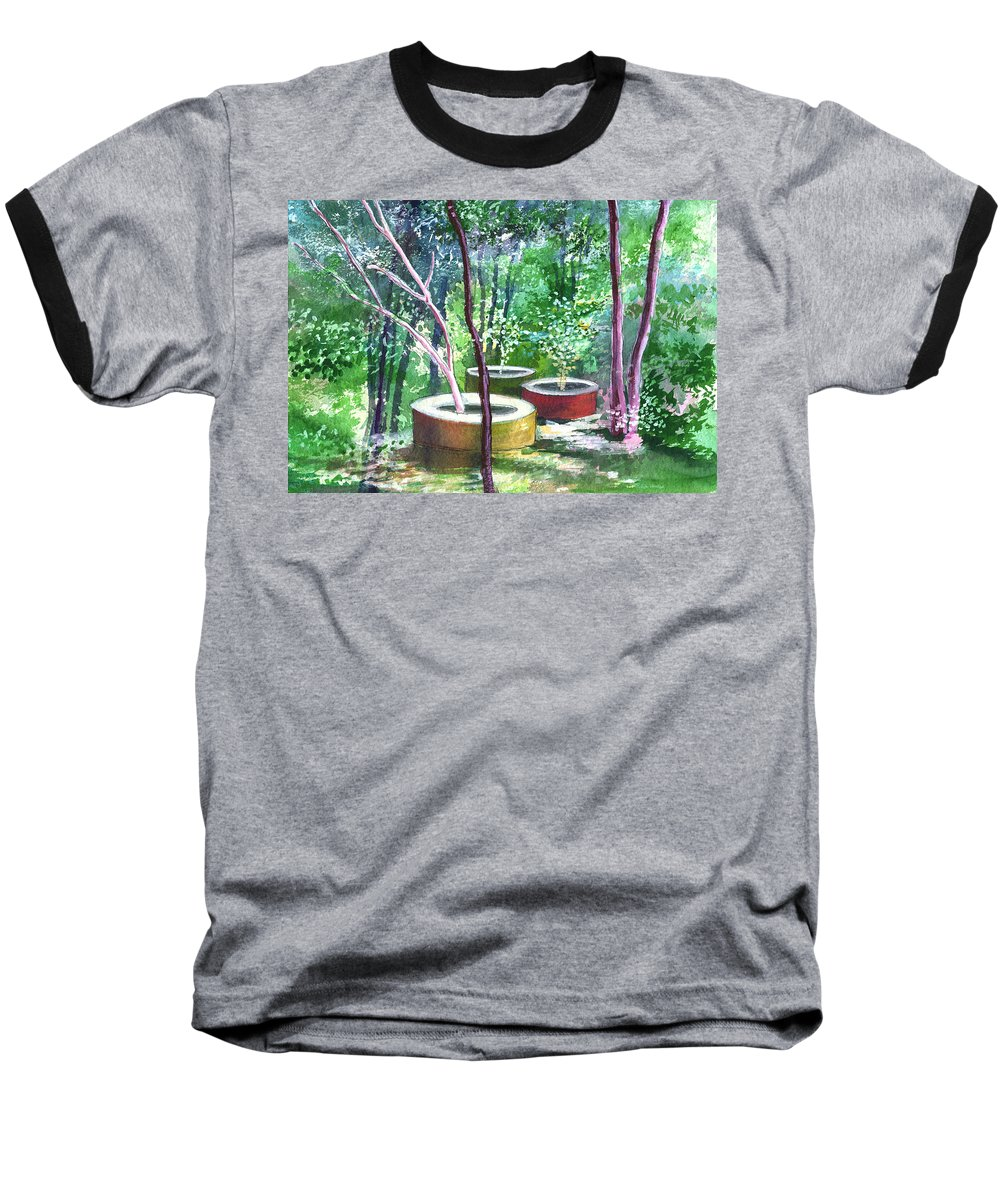 Opaque Landscape Baseball T-Shirt featuring the painting Relax Here by Anil Nene