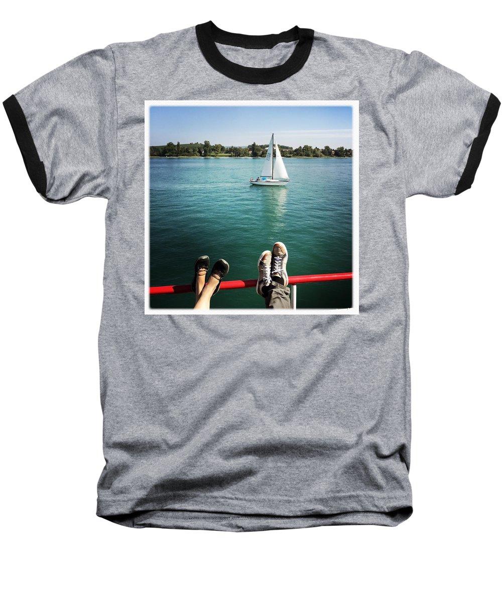 Summer Baseball T-Shirt featuring the photograph Relaxing summer boat trip by Matthias Hauser