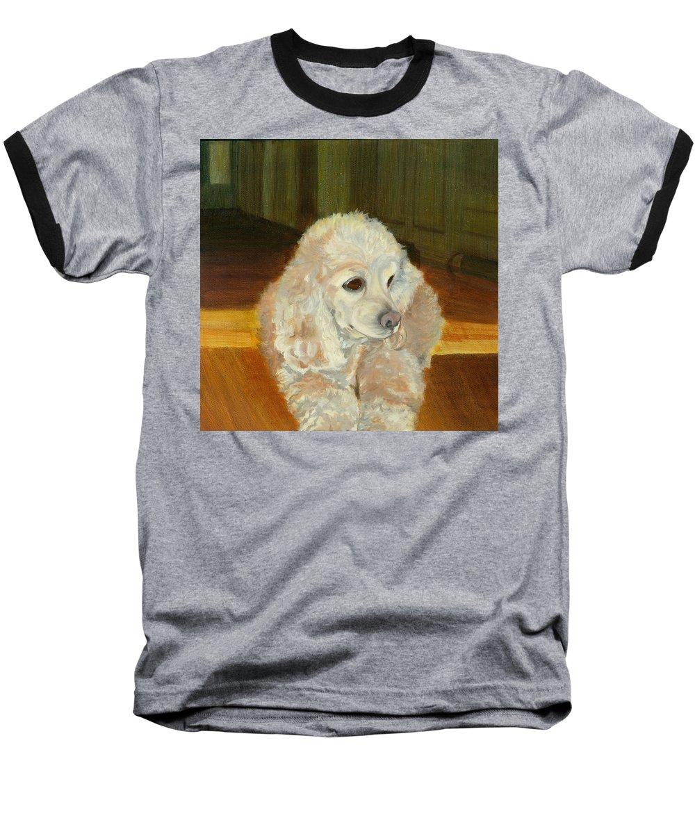 Animal Baseball T-Shirt featuring the painting Remembering Morgan by Paula Emery