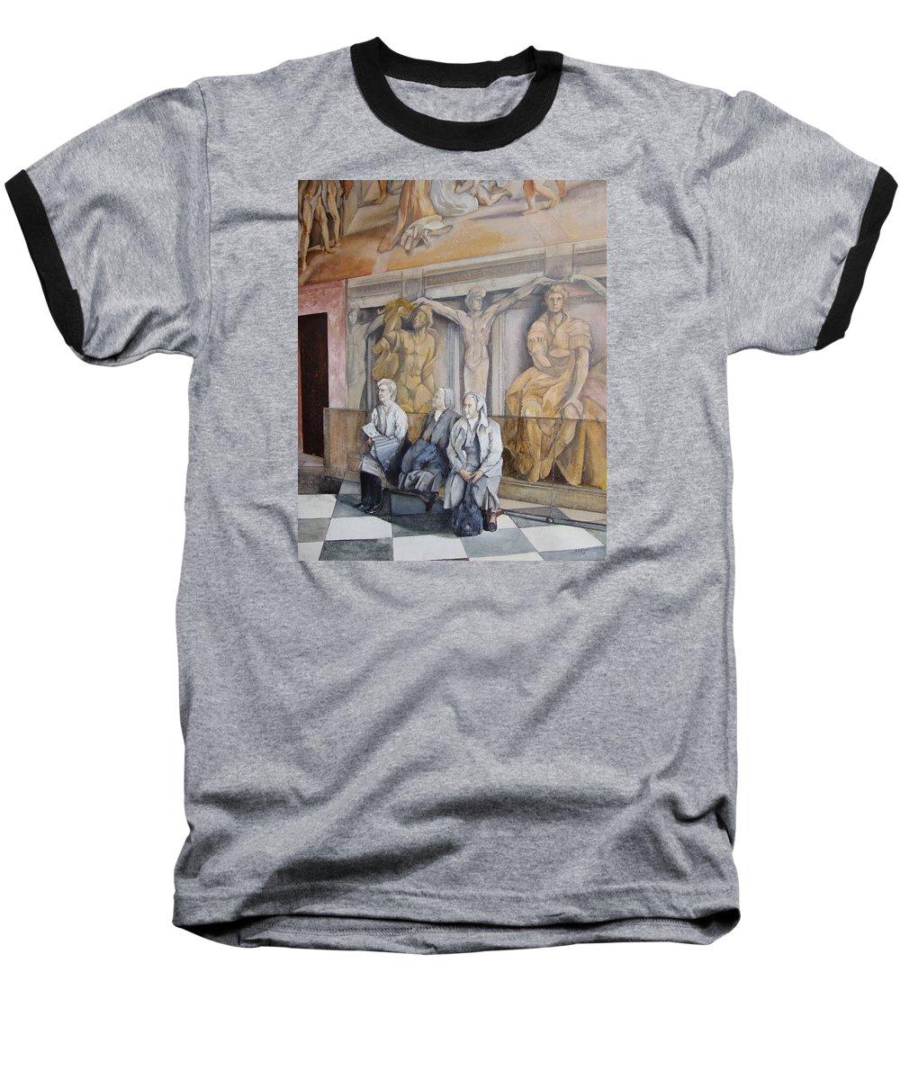 Vaticano Baseball T-Shirt featuring the painting Reposo En El Vaticano by Tomas Castano