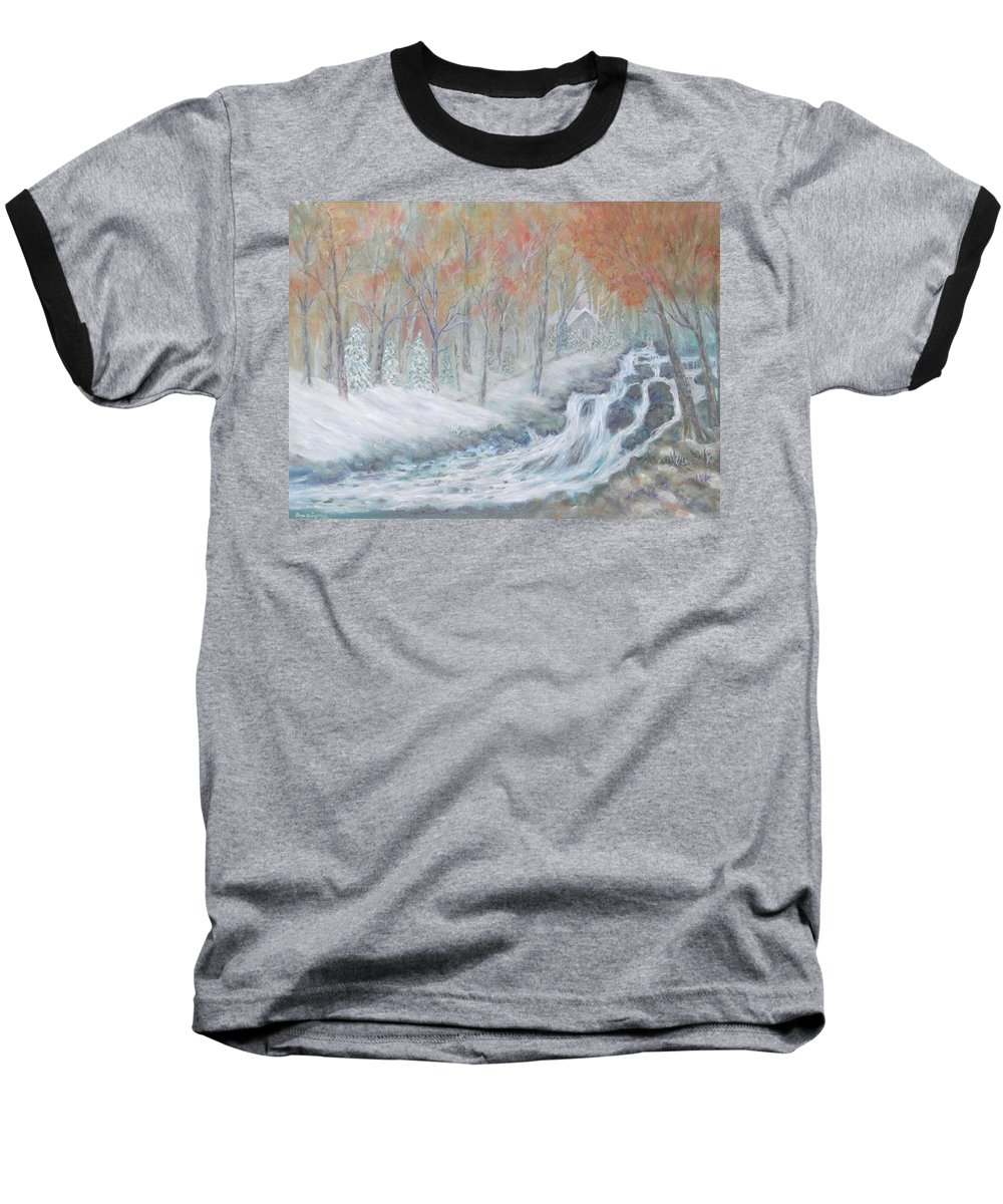 Snow; Landscape; Church Baseball T-Shirt featuring the painting Reverence by Ben Kiger