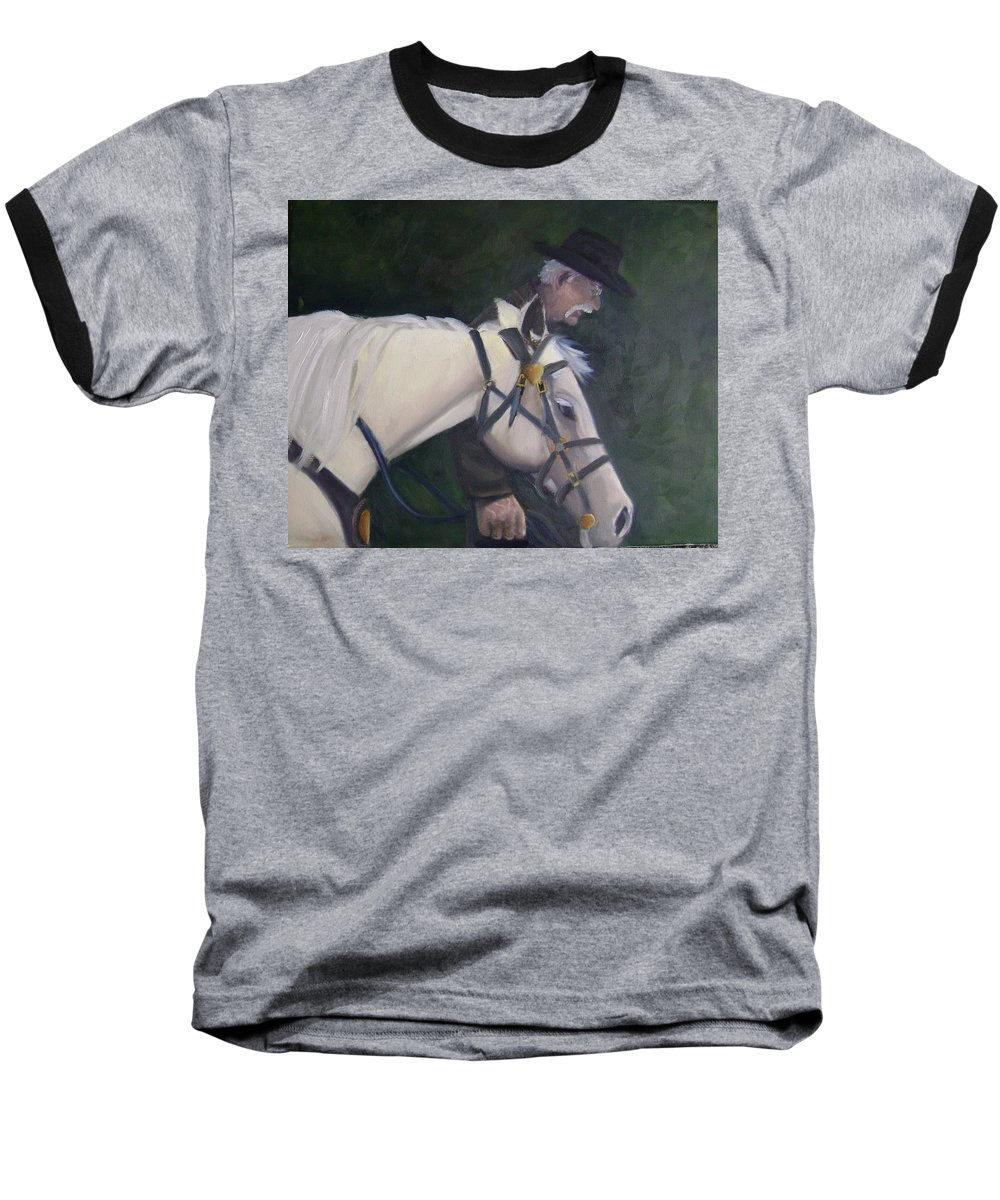 Old Man Horse... Baseball T-Shirt featuring the painting revised- Man's Best Friend by Toni Berry