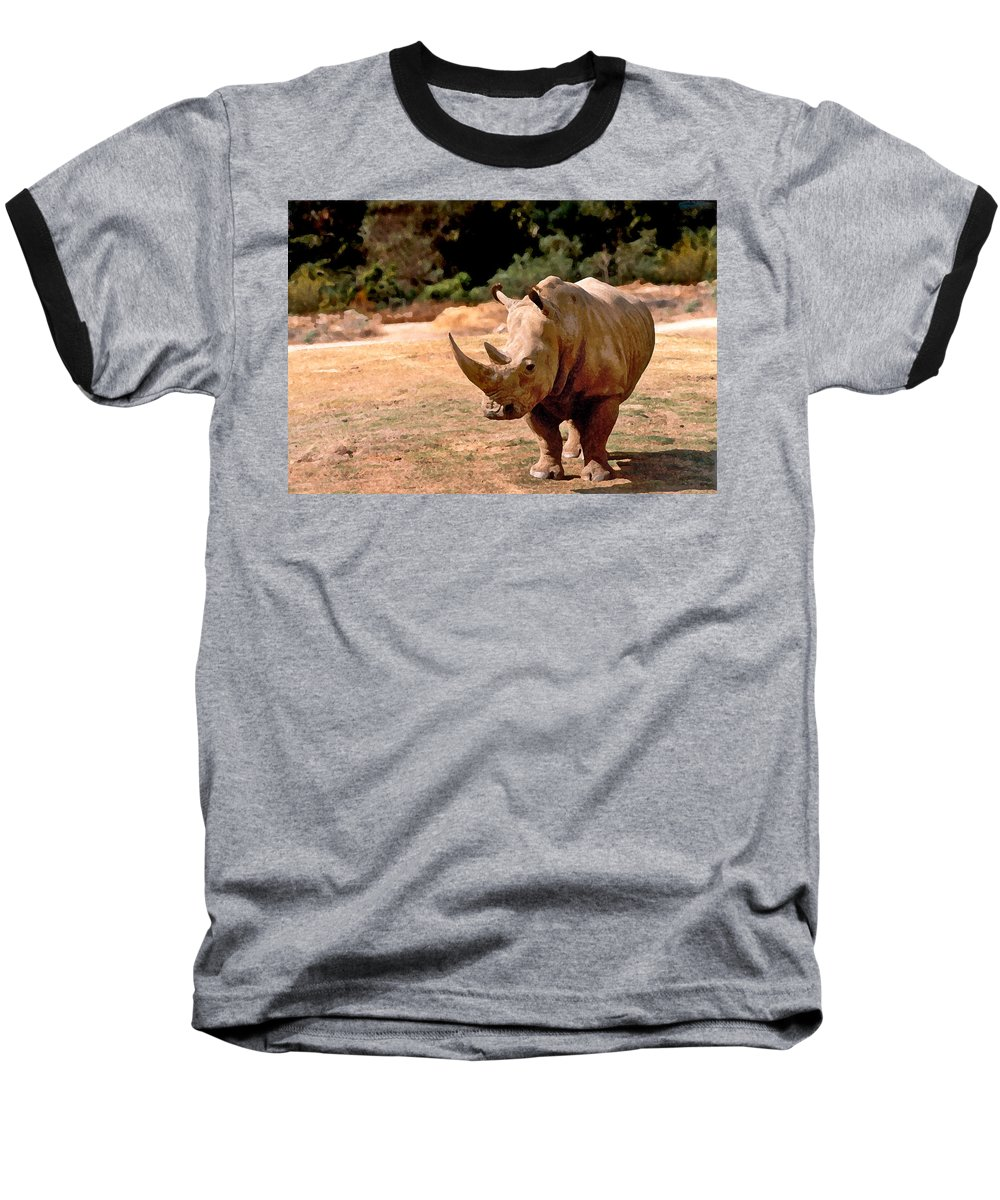 Animal Baseball T-Shirt featuring the painting Rhino by Steve Karol