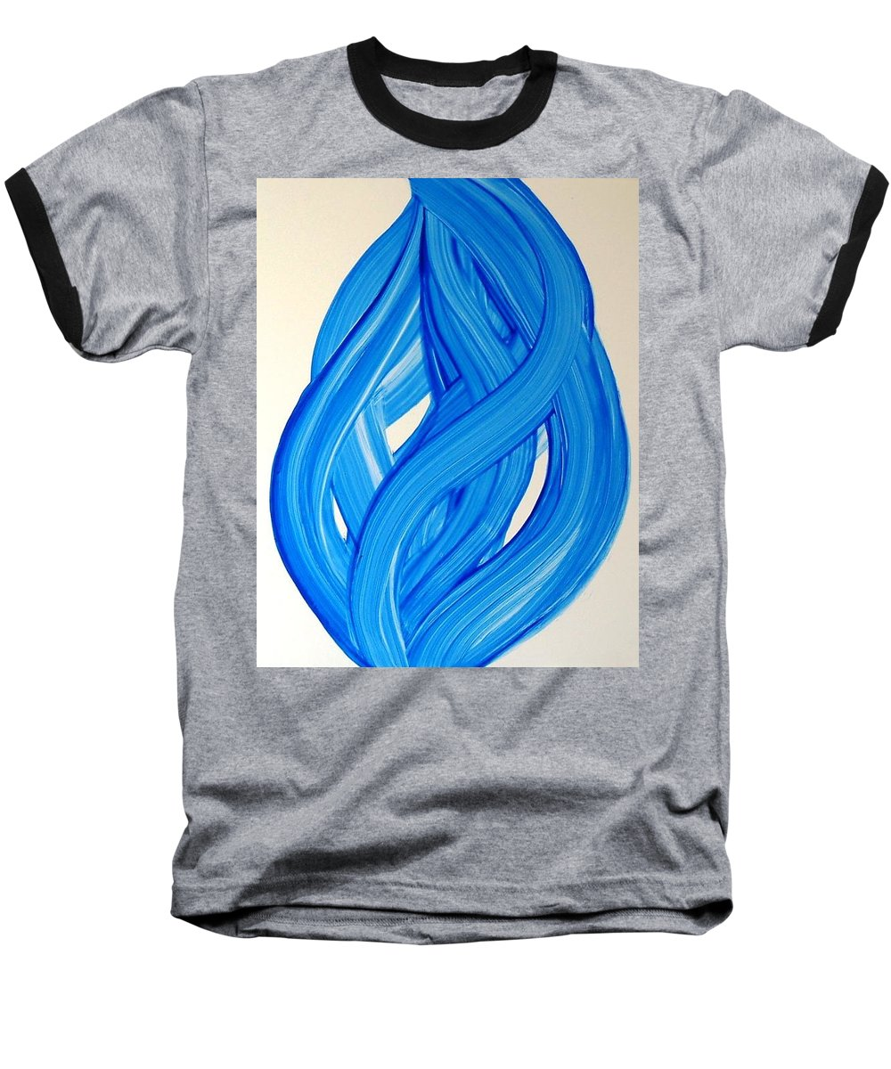 Abstract Modern Contemporary Yupo Art Painting Romantic Pop Blue Baseball T-Shirt featuring the painting Ribbons Of Love-blue by Manjiri Kanvinde
