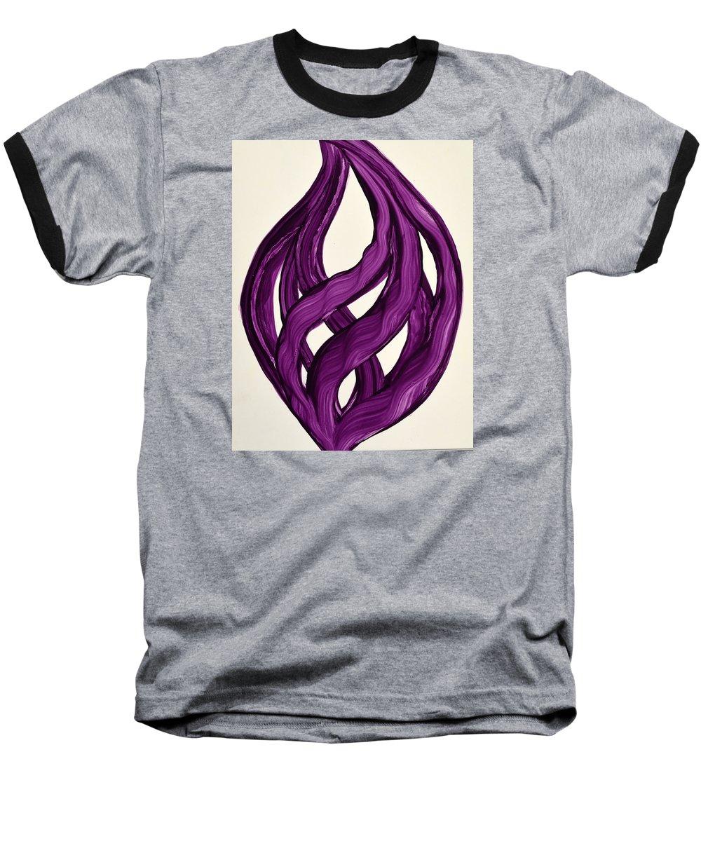 Abstract Art Yupo Comtemporary Modern Pop Romantic Vibrant Baseball T-Shirt featuring the painting Ribbons Of Love-violet by Manjiri Kanvinde
