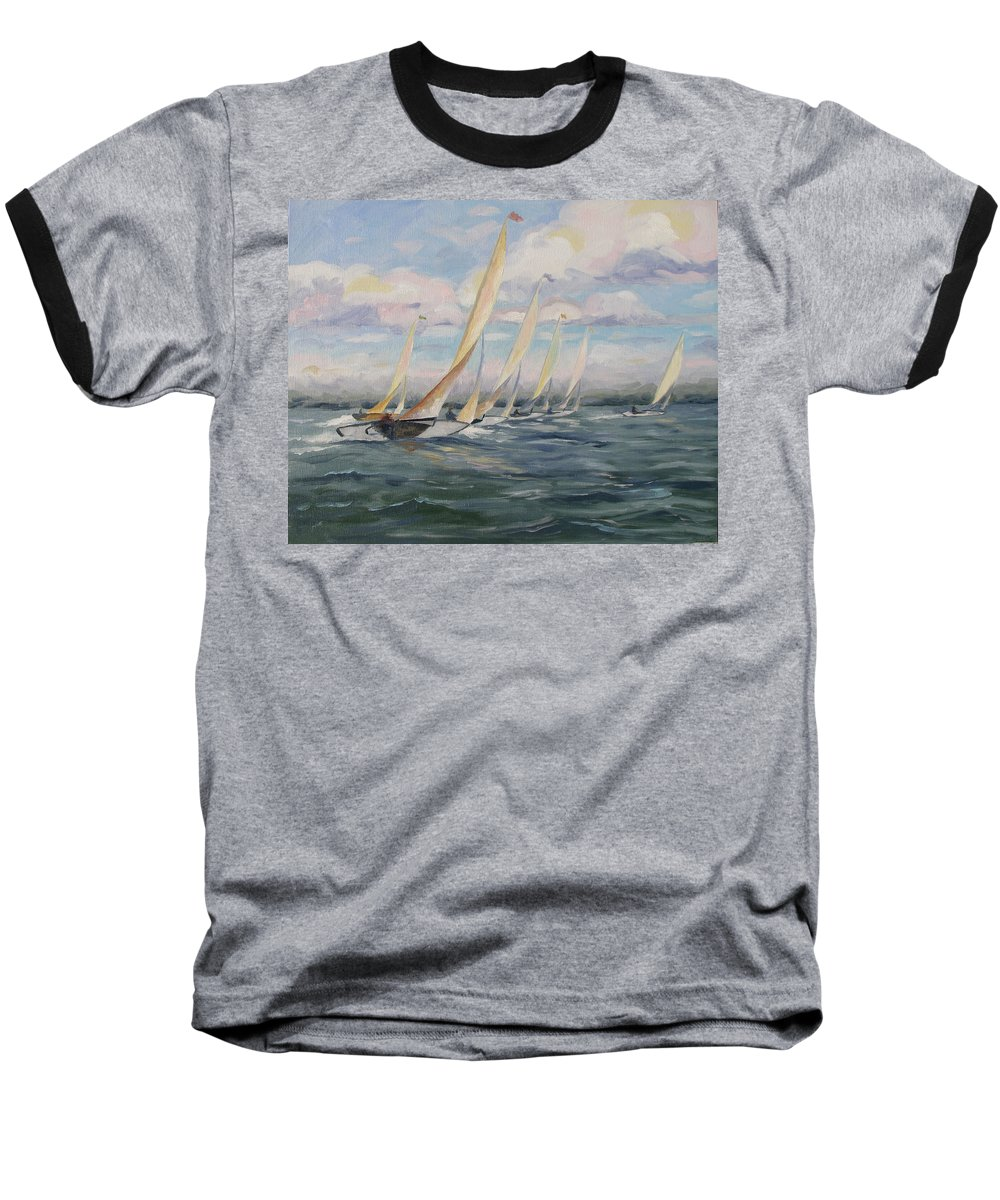 Riding Waves Baseball T-Shirt featuring the painting Riding The Waves by Jay Johnson