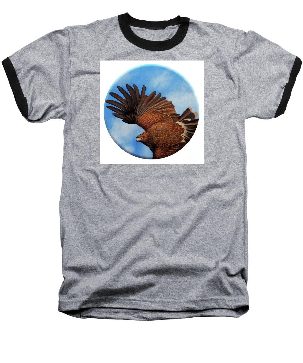 Hawk Baseball T-Shirt featuring the painting Riding The Wind by Brian Commerford