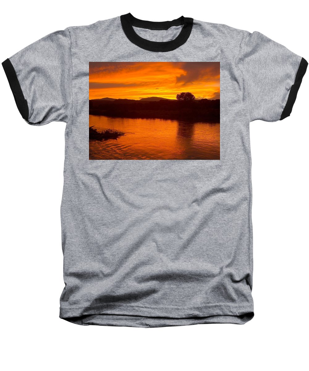 Sunset Baseball T-Shirt featuring the photograph Rio Grande Sunset by Tim McCarthy