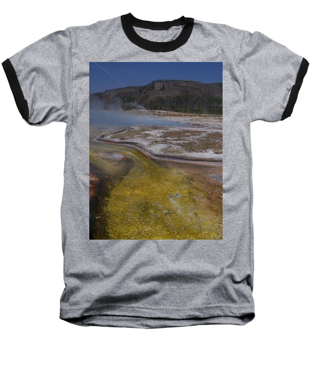 Geyser Baseball T-Shirt featuring the photograph River Of Gold by Gale Cochran-Smith