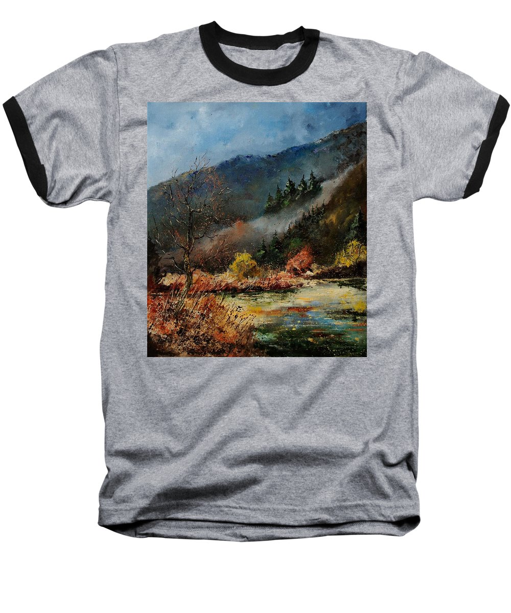 River Baseball T-Shirt featuring the painting River Semois by Pol Ledent
