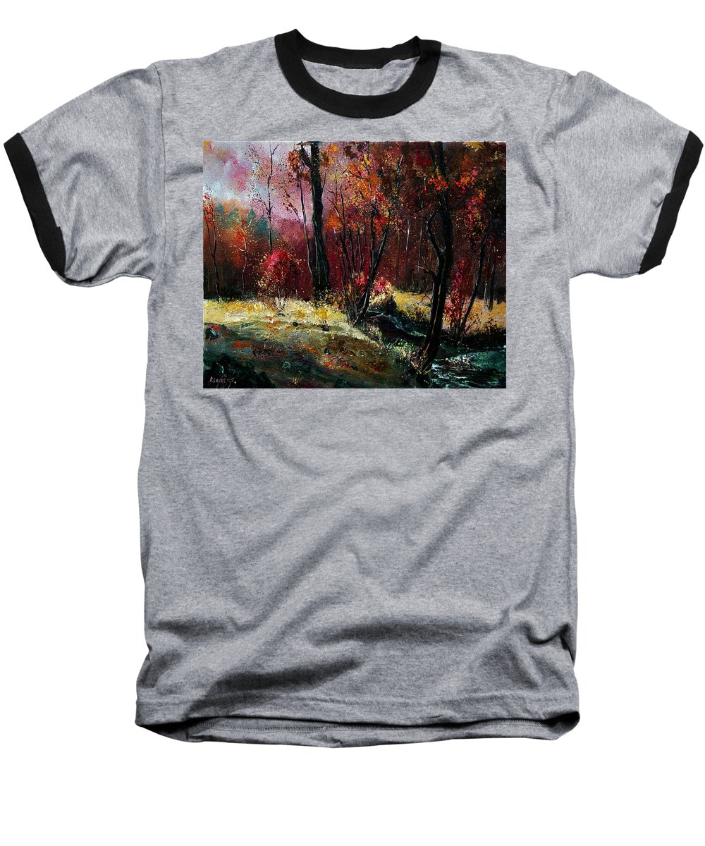 River Baseball T-Shirt featuring the painting River Ywoigne by Pol Ledent