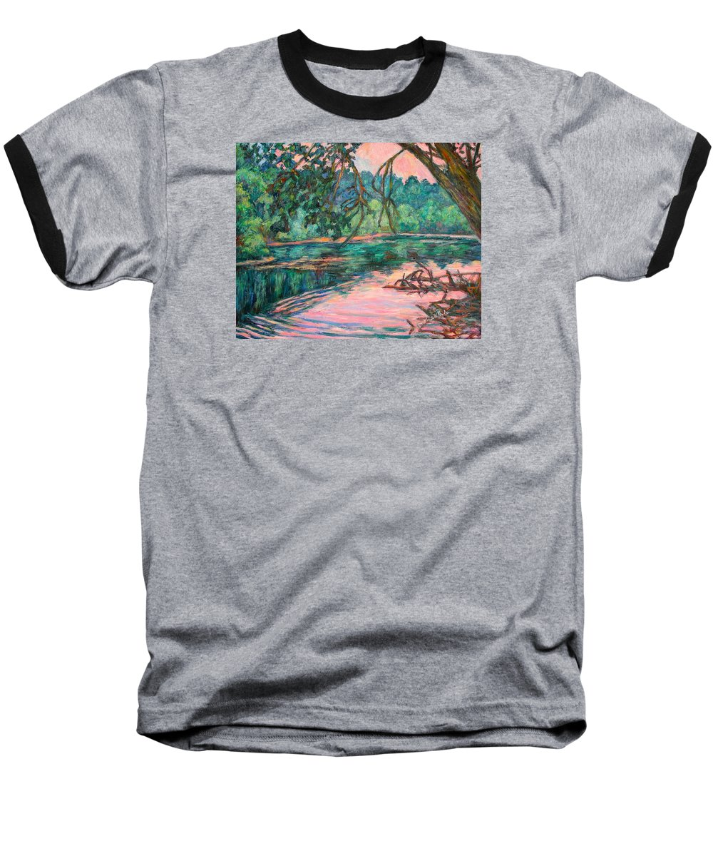 Riverview Park Baseball T-Shirt featuring the painting Riverview At Dusk by Kendall Kessler