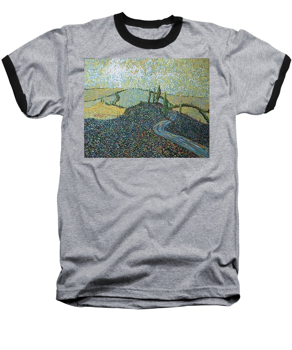 Landscape Baseball T-Shirt featuring the painting Road To Tuscany by Stefan Duncan