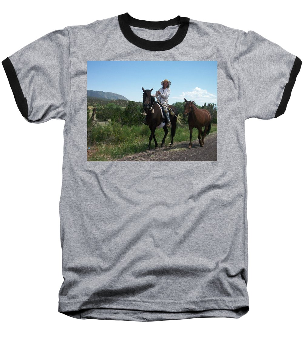 Horses Baseball T-Shirt featuring the photograph Roadside Horses by Anita Burgermeister