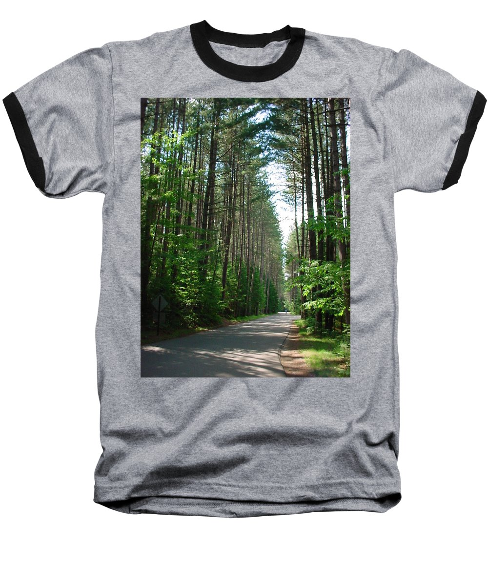 Fish Creek Baseball T-Shirt featuring the photograph Roadway At Fish Creek by Jerrold Carton