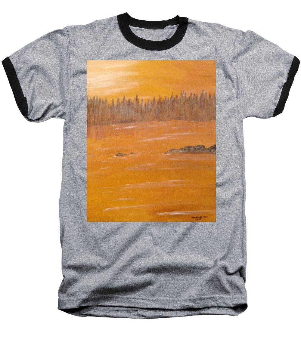 Northern Ontario Baseball T-Shirt featuring the painting Rock Lake Morning 2 by Ian MacDonald