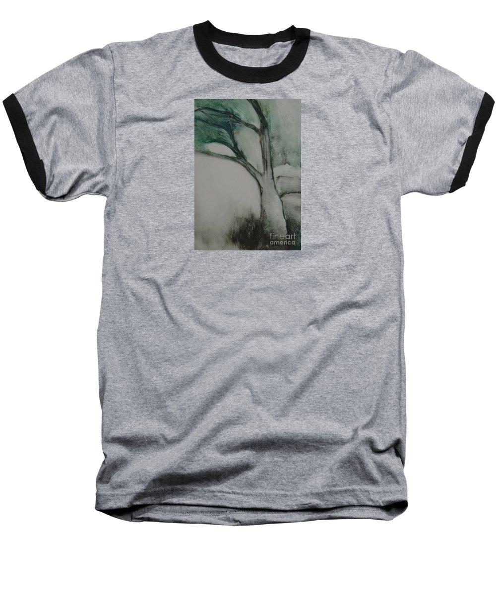Monoprint Tree Rock Trees Baseball T-Shirt featuring the painting Rock Tree by Leila Atkinson