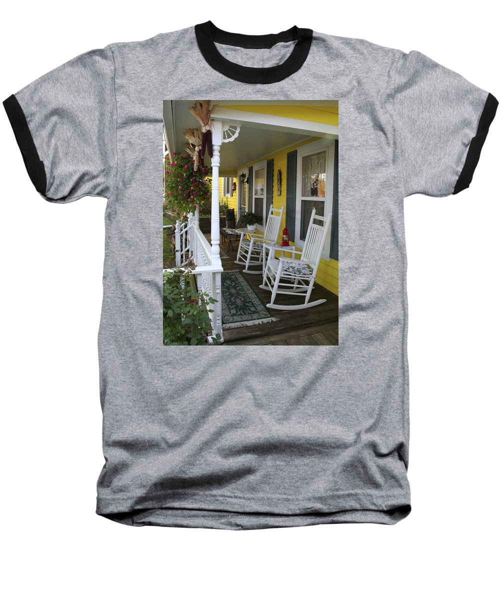 Rocking Chair Baseball T-Shirt featuring the photograph Rockers On The Porch by Margie Wildblood