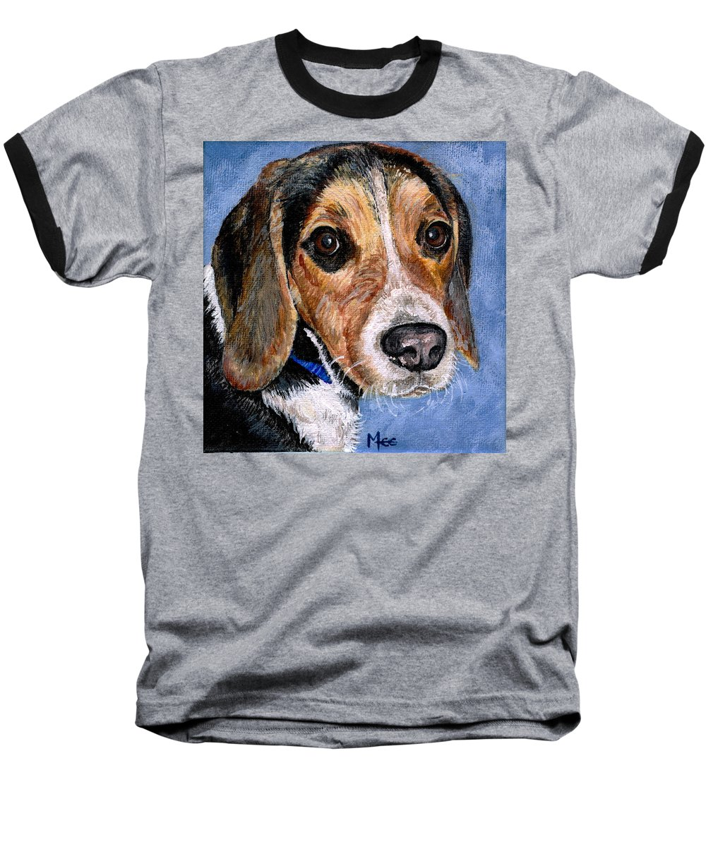 Dog Baseball T-Shirt featuring the painting Rocky by Mary-Lee Sanders