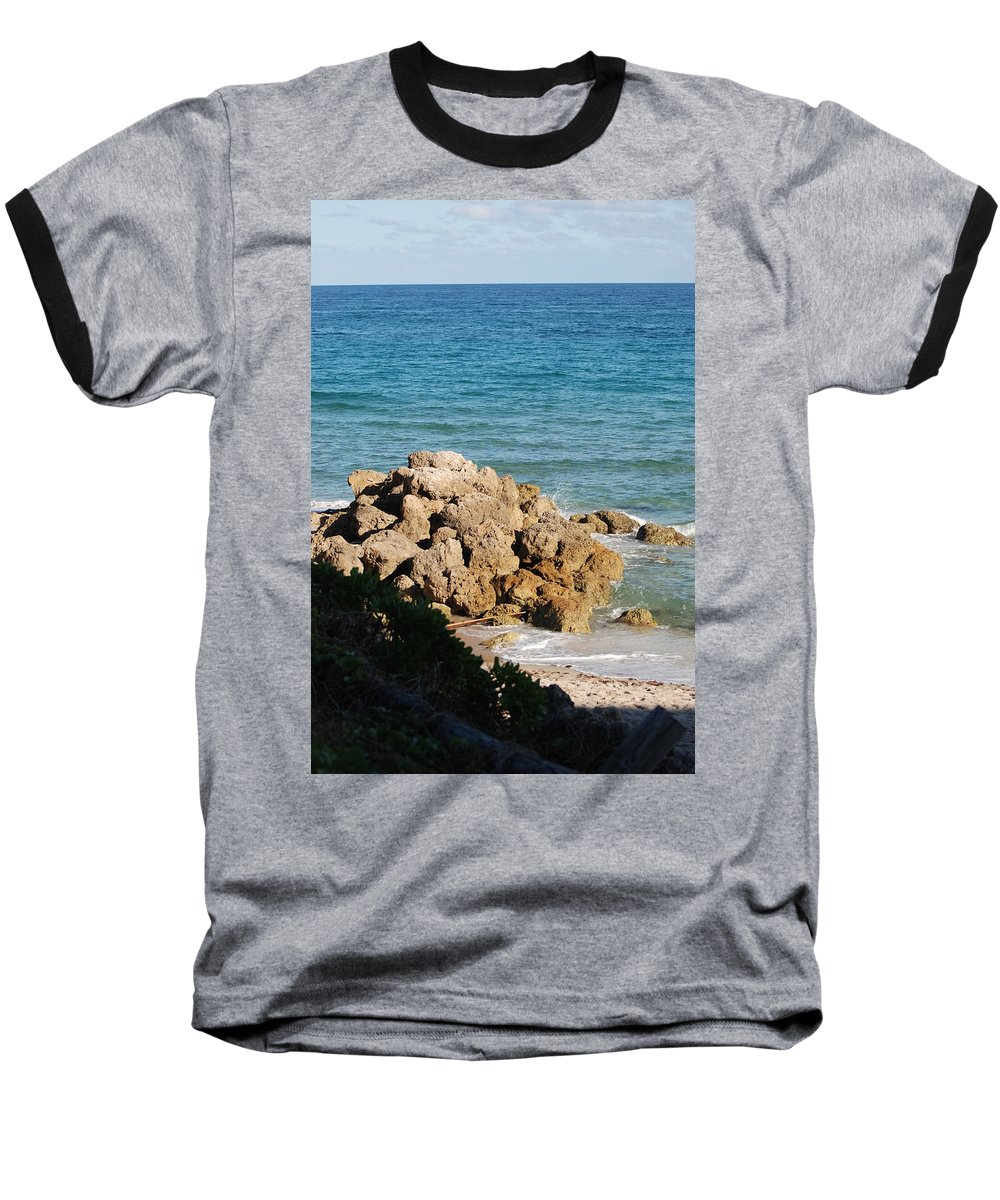 Sea Scape Baseball T-Shirt featuring the photograph Rocky Shoreline by Rob Hans