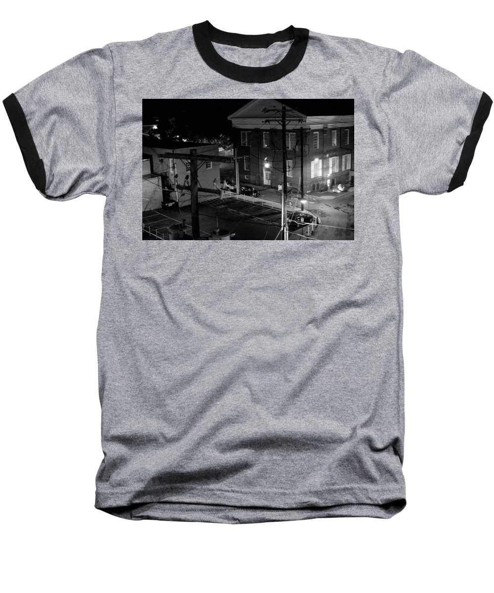 Black White Baseball T-Shirt featuring the photograph Rooftop Court by Jean Macaluso