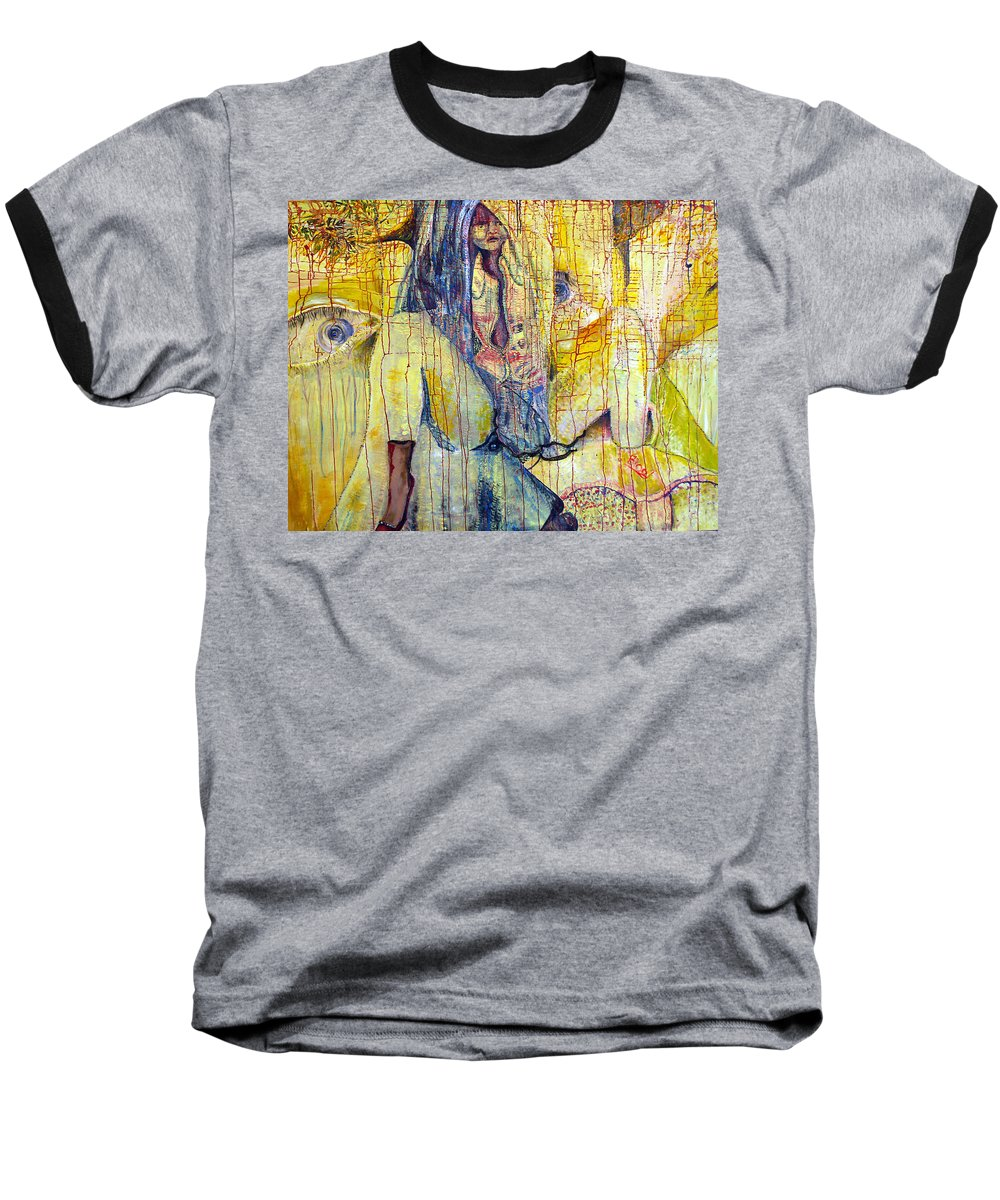 Portrait Baseball T-Shirt featuring the painting Roots by Peggy Blood