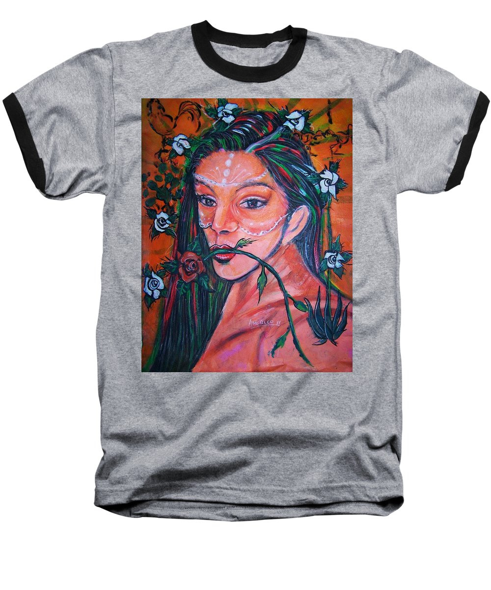 Latina Baseball T-Shirt featuring the painting Rosales Latina by Americo Salazar