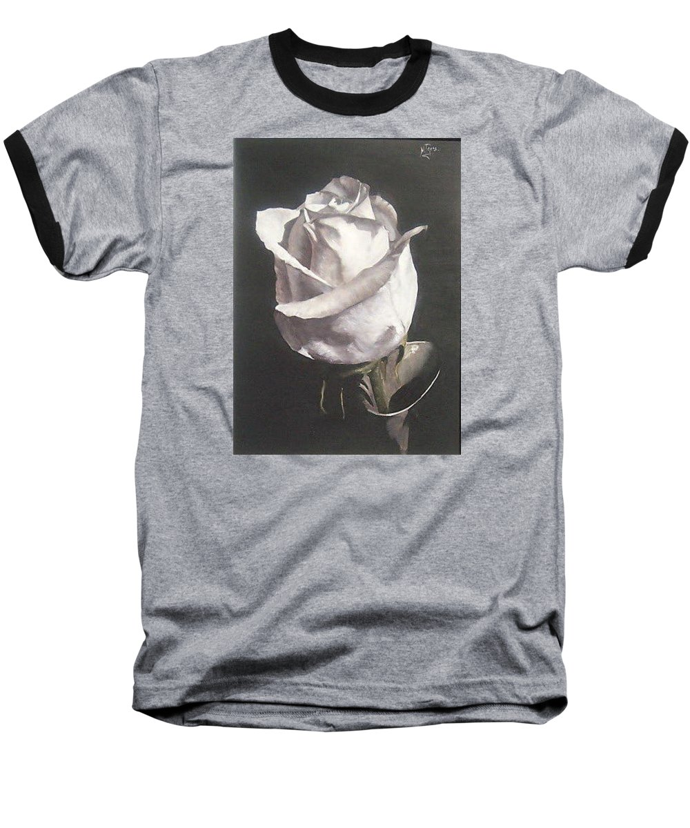 Rose Floral Nature White Flower Baseball T-Shirt featuring the painting Rose 2 by Natalia Tejera